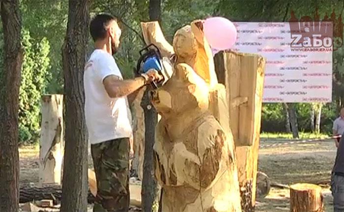 Создание деревянных скульптур в парке Дубовая роща (Запорожье)